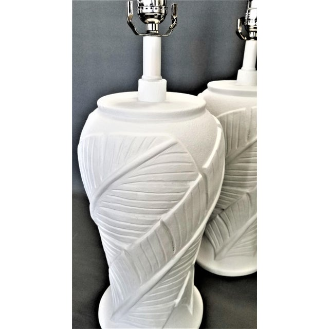 Metal White Plaster Palm Banana Leaf Lamps in the Style of Serge Roche - a Pair For Sale - Image 7 of 13