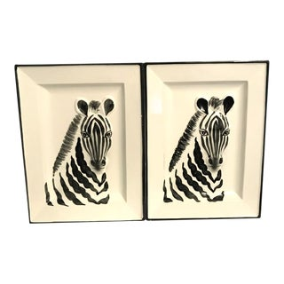 1970s Vintage Fitz & Floyd Zebra Decorative Tray Plates – a Pair For Sale