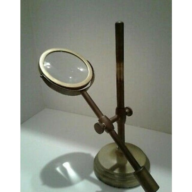 Metal Vintage Sarreid Ltd. Brass Magnifying Glass on Adjustable Stand For Sale - Image 7 of 10