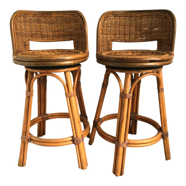 Vintage Boho Bamboo Swivel Counter Stools - A Pair - Image 1 of 6