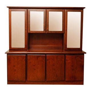 1960s Danish Modern Boltinge Lighted Mahogany Wall Unit Cabinet For Sale