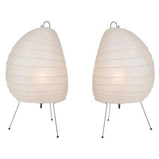 Akari Model 1n Light Sculptures by Isamu Noguchi - a Pair For Sale