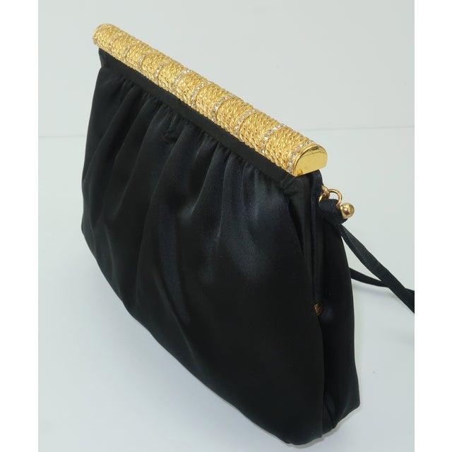 Metal C.1980 Givenchy Black Satin Evening Handbag With Rhinestone Closure For Sale - Image 7 of 13