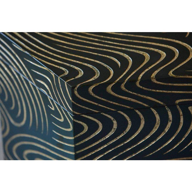 Hexagonal Dark Blue Box With Carved Gilded Graphic Pattern For Sale In New York - Image 6 of 9