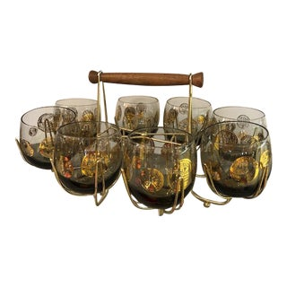 Mid-Century Georges Briard Gold Crown Glasses With Brass Rack & Caddy - Set of 8 For Sale
