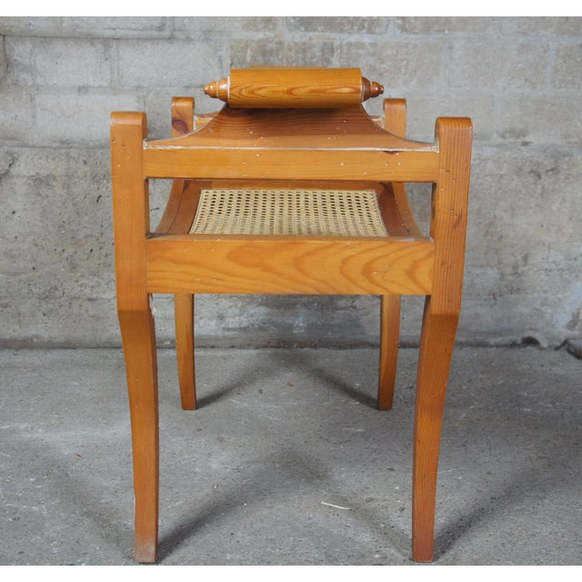 French Country Pine Foot Stool Scrolled Arms Spain Vanity Caned Seat Bench For Sale - Image 6 of 10