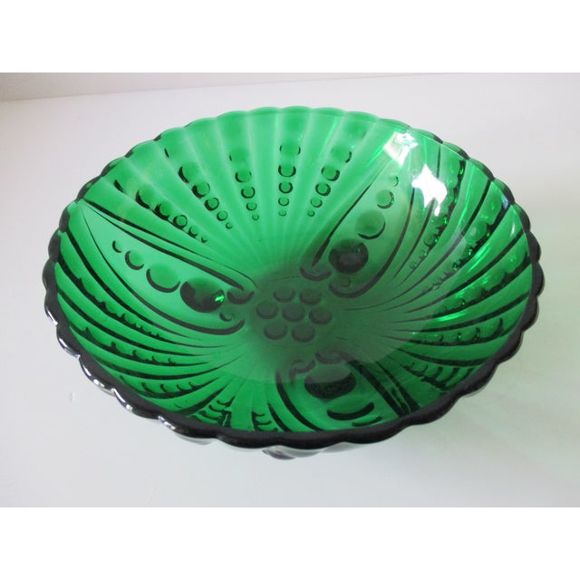 Mid-Century Modern Vintage Emerald Green Round Decorative Bowl For Sale - Image 3 of 5