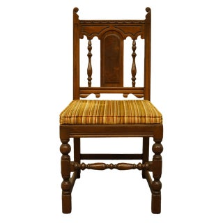 Late 20th Century Vintage Mount Airy English Revival Jacobean Style Walnut Dining Side Chair For Sale