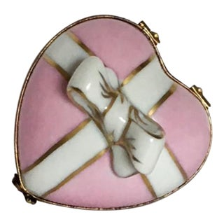 Pale Pink Limoge Heart Box With Bow