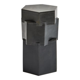 Featured in The 2020 San Francisco Decorator Showcase — B Zippy Brutalist Gray & Black Ceramic Stoneware Hex Side Table For Sale