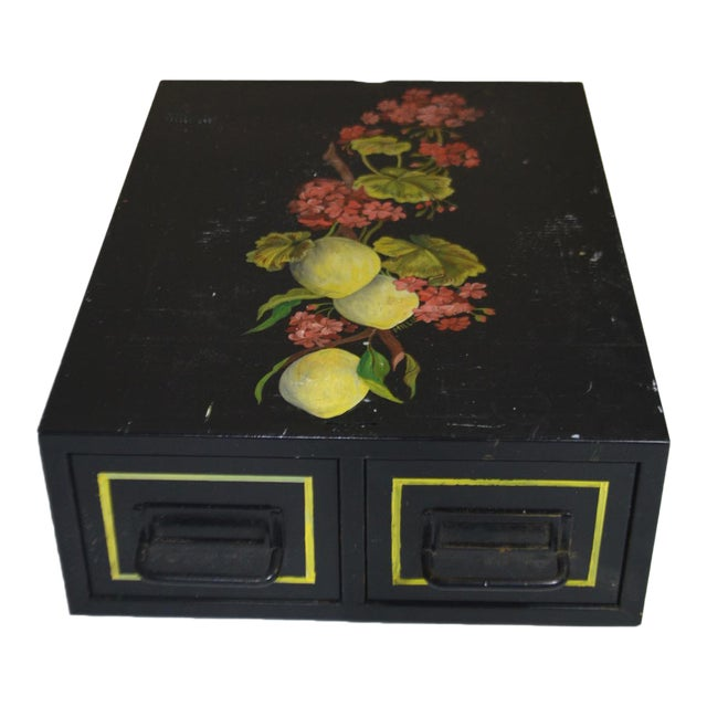 Vintage Hand Painted Floral Filing Cabinet For Sale