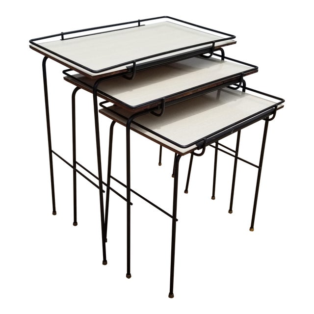 Mathieu Mategot Style Nesting Tables - Set of 3 For Sale