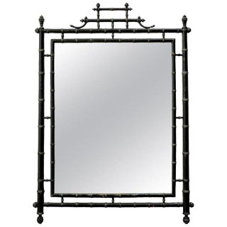 Faux Bamboo Chinoiserie Black Lacquered Mirror For Sale