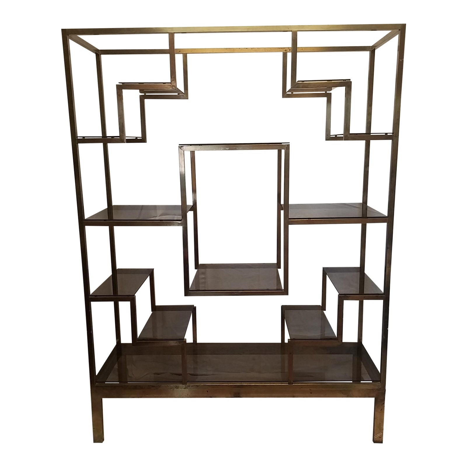 Mid Century Italy Bronze Metal Etagere With Bronze Glass Shelves -