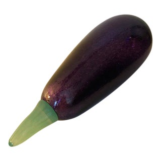 Vintage Kosta Boda Frutteria Series Signed & Numbered by Gunnel Sahlin Hand-Blown Glass Eggplant For Sale