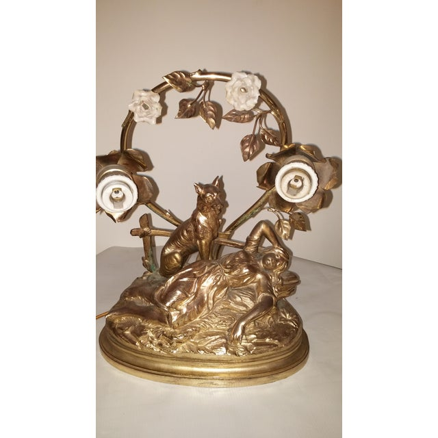 Art Nouveau Parisian Mantle Lamp Lady - Image 7 of 7