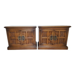 Unique Furniture Manufacturing Co. Wood Square Nightstands - a Pair For Sale
