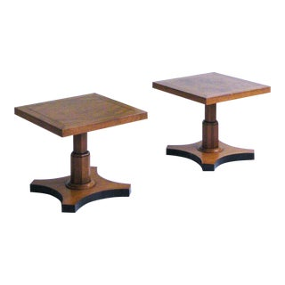 1960s Mid-Century Modern Baker Furniture Company Burlwood End Tables - a Pair