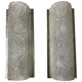 Pair of French Art Deco Sconces by Sabino For Sale
