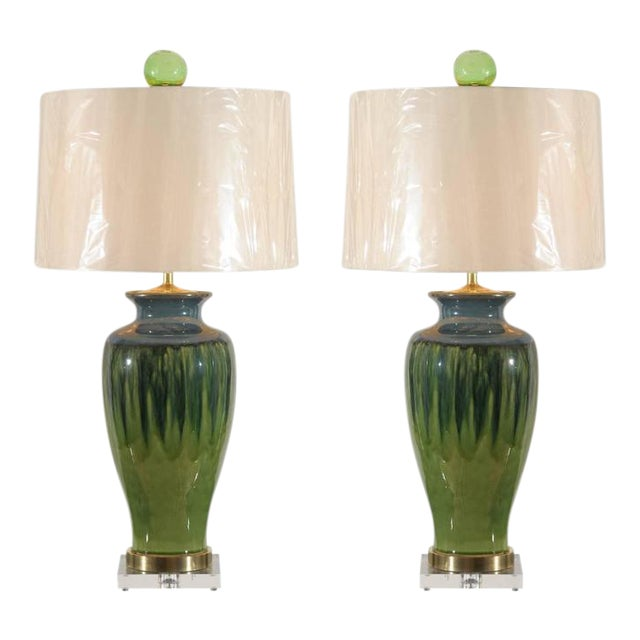 Fantastic Pair of Large-Scale Drip Ceramic Lamps with Blown Glass Finials For Sale
