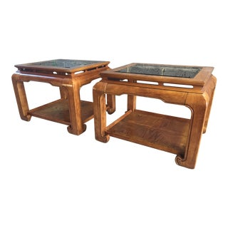 1970's Ming Burlwood Side Tables - a Pair For Sale