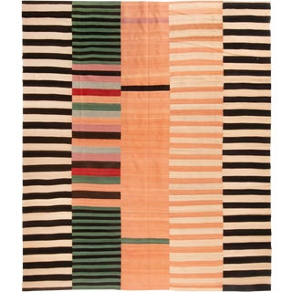 Contemporary Geometric Wool Kilim Rug - 8′4″ × 10′2″ For Sale