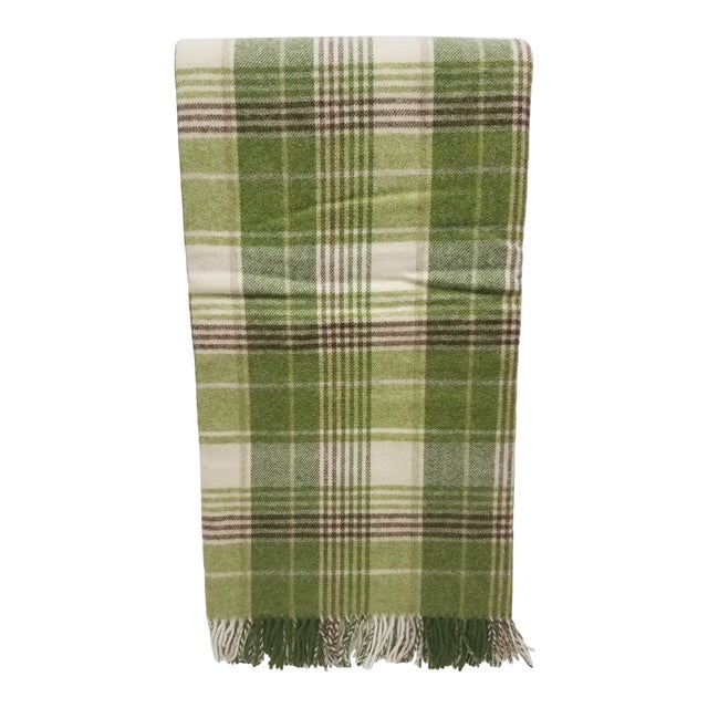Merino Wool Throw Greens Brown and White Plaid - Made in England For Sale