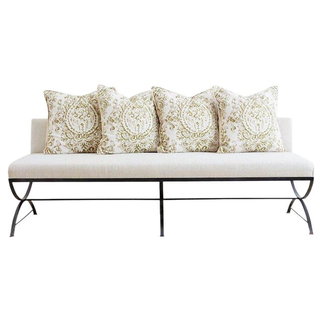 Wrought Iron Curule Style Dining Banquette Bench For Sale