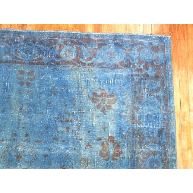 """Cobalt Blue Overdyed Vintage Rug - 6'4"""" x 10'6"""" For Sale - Image 4 of 10"""