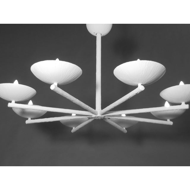 Eight spoke, eight-light and eight cup chandelier by Apsara Interiors. Up light. Can be ceiling fixture or chandelier...