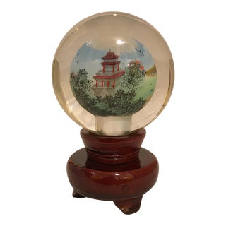 Glass Chinese/Chinoiserie Paperweight & Carved Wood Stand For Sale