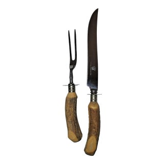 Antler Handled Carving Set - a Pair Anytime or Holiday Dining For Sale