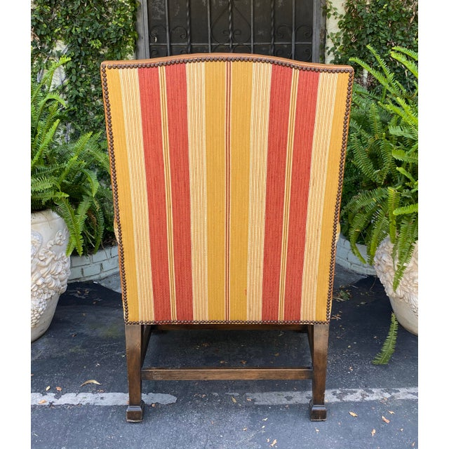 Early 20th Century Antique Mahogany Leather Desk Chair W Linen Stripe Seat For Sale - Image 5 of 6