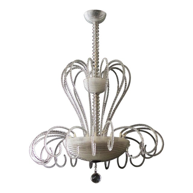 A Shapely and Good Quality Murano 1950's 3-Light Waterfall Chandelier For Sale