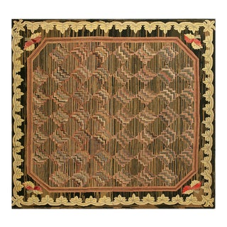 """Antique American Hooked Rug 8'8""""x8'10"""" For Sale"""