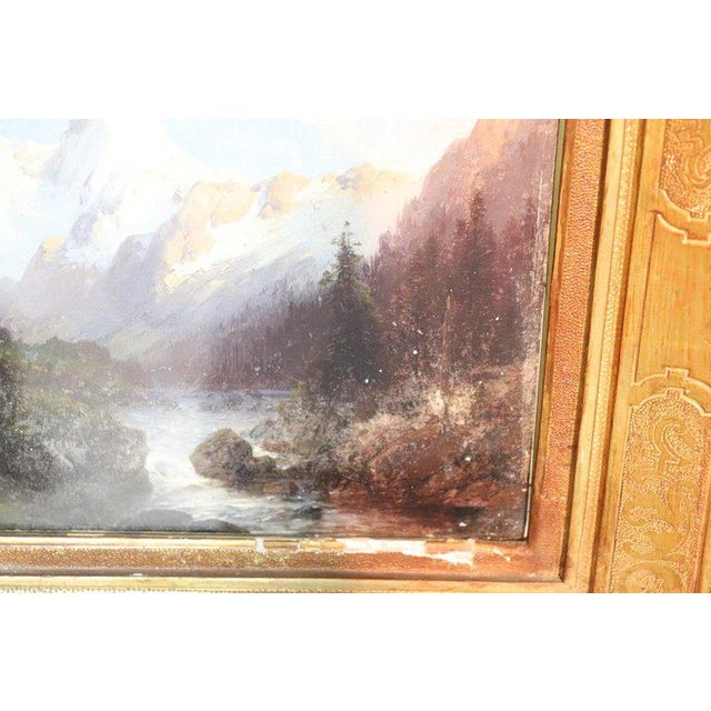Italian Oil Painting Mountain Landscape With Golden Frame For Sale - Image 10 of 13