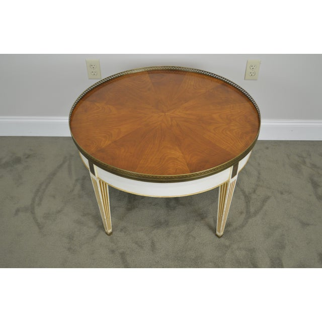 Gold Baker Vintage Regency Directoire Style Round Painted Bouillotte Coffee Table For Sale - Image 8 of 13