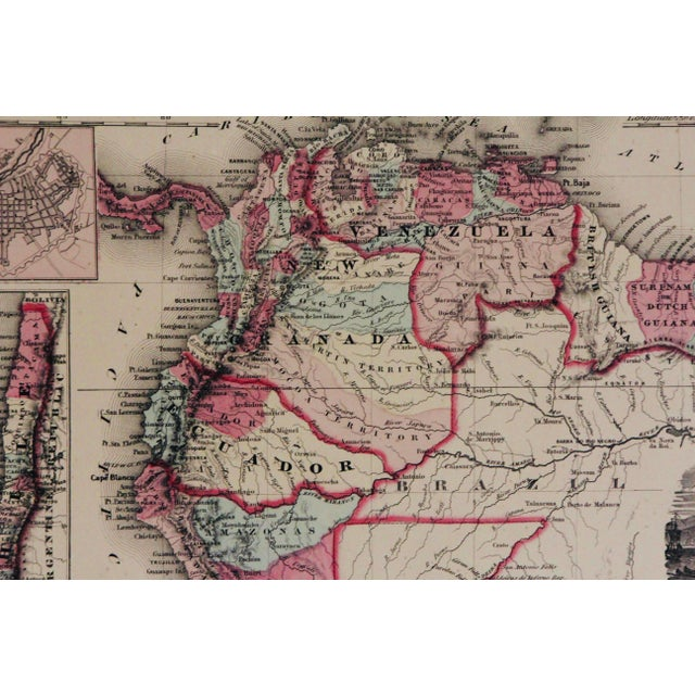 Red Vintage South America Map For Sale - Image 8 of 10