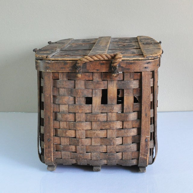 Large Rustic Antique Shipping Basket Trunk - Image 3 of 8