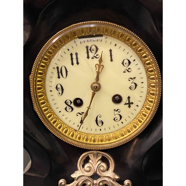19th Century French Black Gilded Clock For Sale - Image 4 of 9