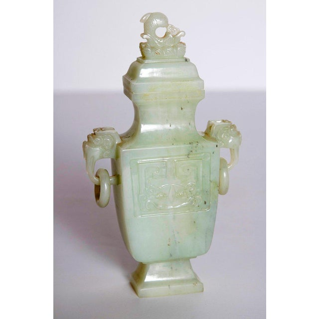 Green Late 19th / Early 20th Century Pale Celadon Jade Vase & Cover, China, Qing Dynasty For Sale - Image 8 of 13