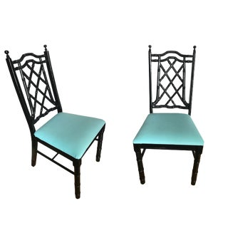 1950s Chippendale Black Faux Bamboo Dining Chairs - a Pair