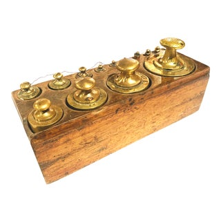Antique French Brass Weight Set in Wooden Block Holder - Set of 15 For Sale