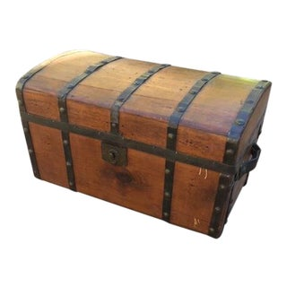 Antigue Wood and Metal Straps Trunk with Leather Handles For Sale