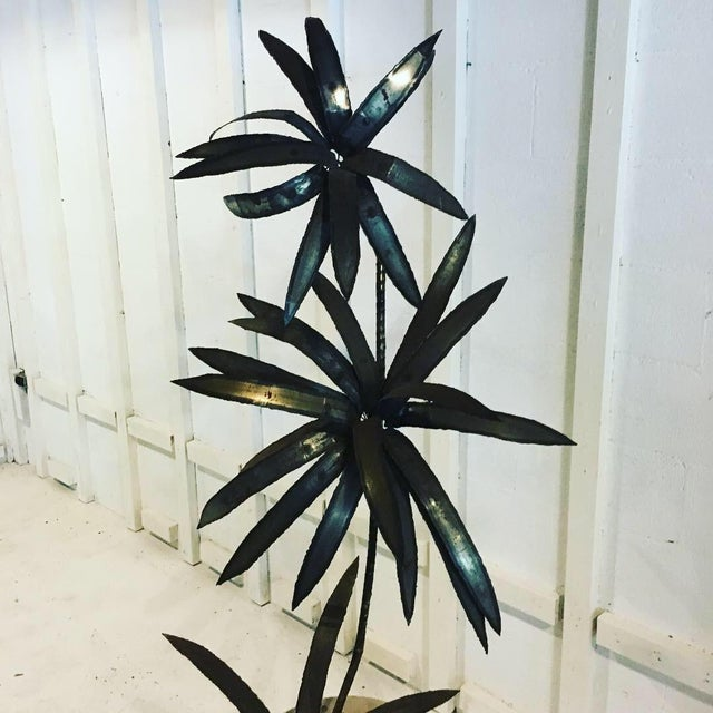 1970s Boho Chic Metal Plant Sculpture For Sale - Image 4 of 9