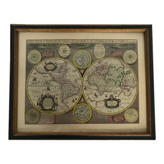 Vintage Framed Old World Map Lithograph