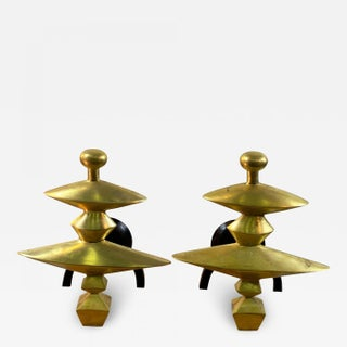 Late 20th Century Sculptural Andirons in the Style of Alberto Giacometti - a Pair For Sale