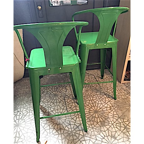 Contemporary Contemporary Kelly Green Metal Barstools -- A Pair For Sale - Image 3 of 3