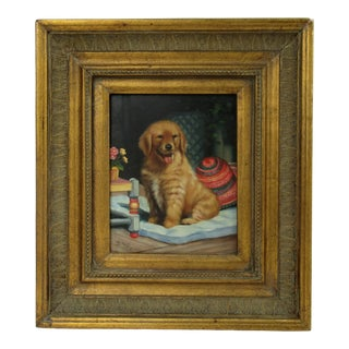 """Vintage Framed Acrylic on Masonite Board Signed """"Golden Retriever Puppy"""" Painting For Sale"""