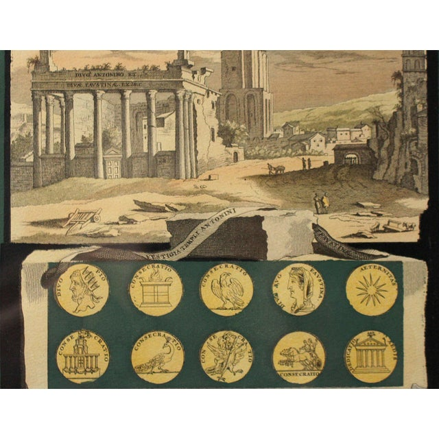 Wood Early 1800s Antique Italian Neoclassical Hand Colored Roman Temple & Ruins Engravings in Gilt Wood Frames - a Pair For Sale - Image 7 of 8